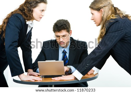 Portrait of two young women having a business fight - stock photo