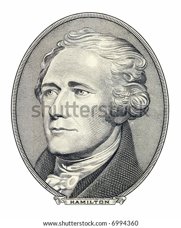 Portrait of U.S. army officer, lawyer, Founding Father, politician, statesman, financier and political theorist Alexander Hamilton as he looks on ten dollar bill obverse. Clipping path included. - stock photo