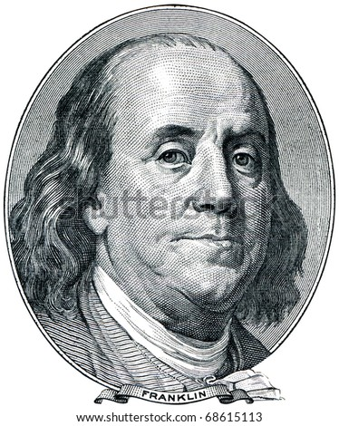 Portrait of U.S. statesman, inventor, and diplomat Benjamin Franklin as he looks on one hundred dollar bill obverse.