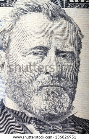 Portrait of  Ulysses S. Grant from 50 dollars bill - stock photo