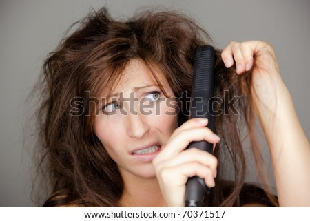 Portrait of unhappy hairy female - stock photo