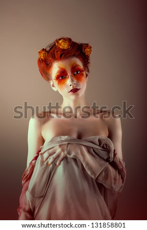 Portrait of Unusual Redhead Woman with False Red Eyelashes. Fantasy - stock photo