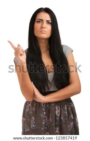 Portrait of upset girl - stock photo