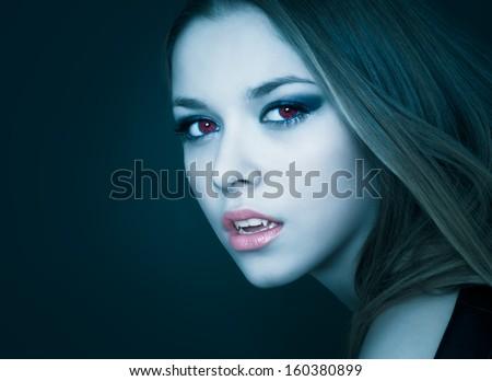 portrait of vampire woman - stock photo