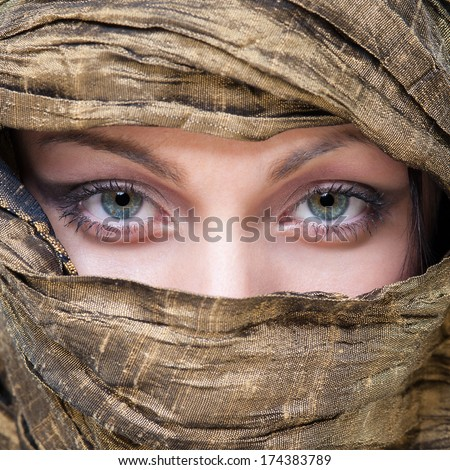Portrait of veiled woman with beautiful eyes. - stock photo
