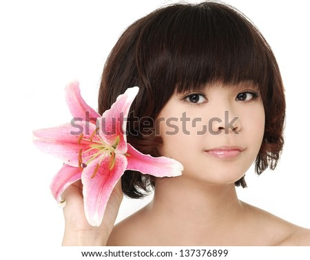Portrait of very cute young woman - stock photo