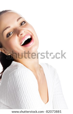 Portrait of very happy smiling young woman gesturing, isolated on white background - stock photo