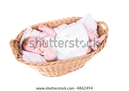 portrait of very small girl in the basket