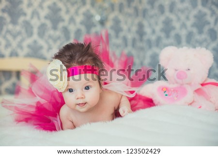 Portrait of very sweet little baby girl - stock photo