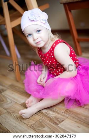 Portrait of very sweet little baby girl - stock photo