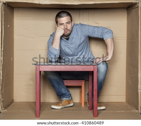 portrait of wasted man - stock photo