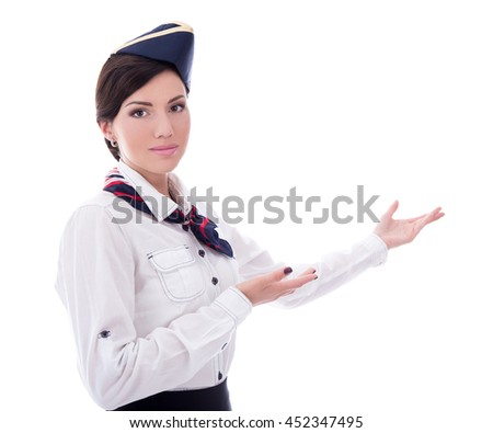 portrait of welcoming flight attendant isolated on white background - stock photo