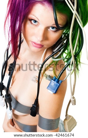 portrait of wired woman - stock photo