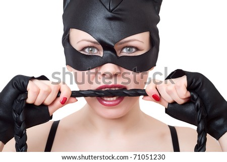 portrait of woman-cat. series of woman-cat - stock photo
