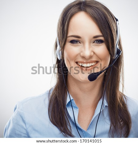 Portrait of woman customer service worker, call center smiling operator. Isolated portrait. - stock photo