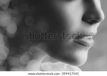 portrait of woman double exposure with beautiful background in black and white