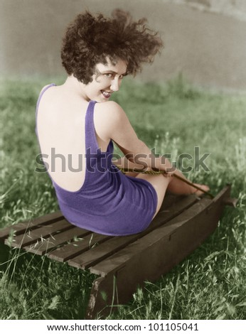 Portrait of woman in bathing suit - stock photo