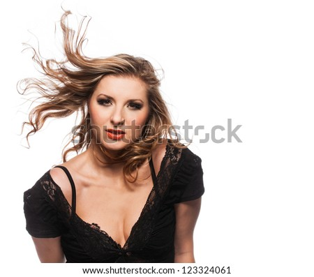 Portrait of Woman in Black Lace Top