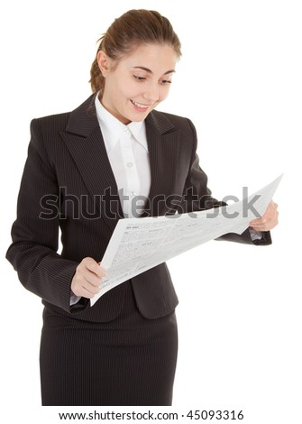 portrait of woman in business clothing with newspaper - stock photo