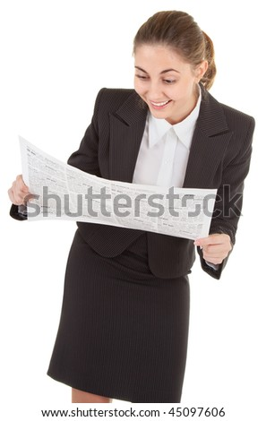 portrait of woman in business clothing with newspaper