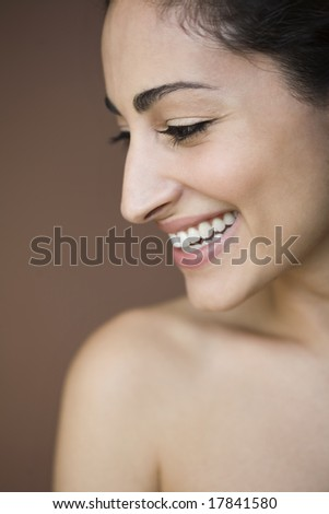 Portrait of woman in profile - stock photo