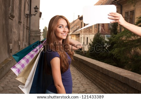 Portrait of woman in shopping - stock photo