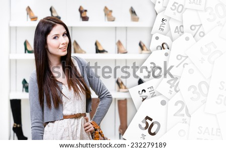 Portrait of woman in shopping center in the section of female shoes, sale time. Concept of consumerism and stylish purchase - stock photo