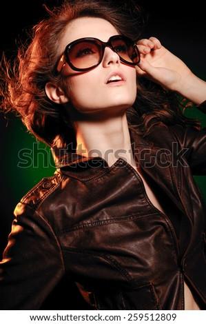 portrait of woman in sunglass - stock photo