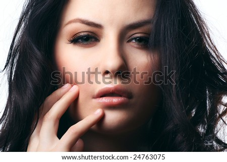 portrait of woman isolated on white background - stock photo