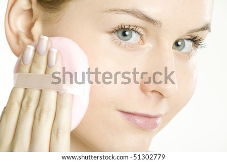 portrait of woman's make up - stock photo