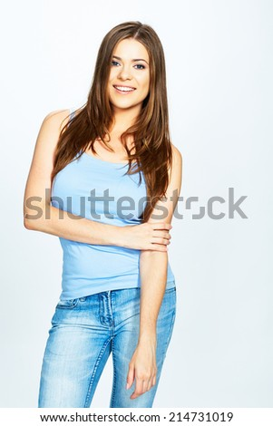 portrait of woman standing against white background . long hair . - stock photo