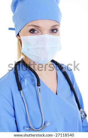 Portrait of woman surgeon in medical mask and stethoscope
