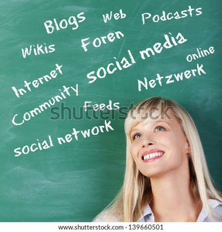 Portrait of woman thinking about social media on the green board - stock photo