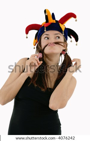 portrait of woman with funny face expression and hat