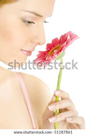 portrait of woman with gerbera - stock photo