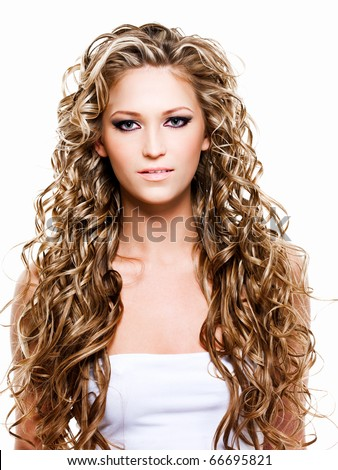 Portrait of woman with long  beautiful hair - stock photo