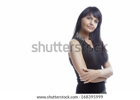 Portrait of Woman With Long Brown Hair Posing. Isolated On White Background. Horizontal Image