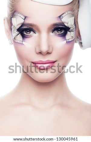 portrait of woman with make-up of bow - stock photo