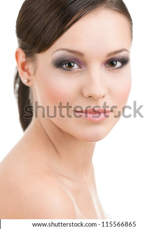 Portrait of woman with makeup, isolated on white - stock photo