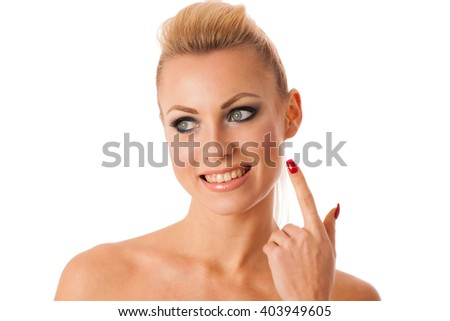 Portrait of woman with perfect makeup gesturing with hands purity, freshness, beauty.