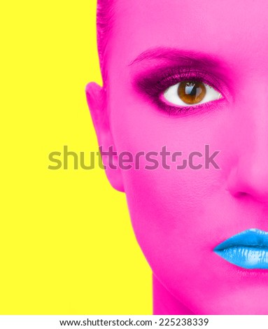 Portrait of woman with pink skin and blue lips on yellow background