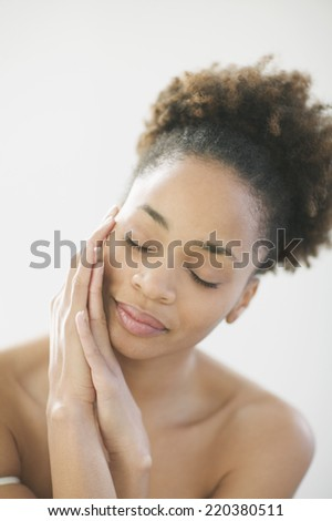 Portrait of woman with smooth skin
