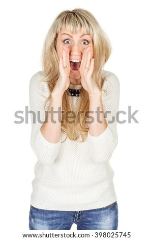 Portrait of woman woman loud screaming or calling out to someone. image on a white studio background. Negative human emotion expression and lifestyle concept - stock photo