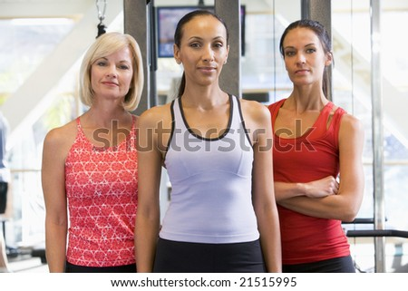 Portrait Of Women At Gym - stock photo