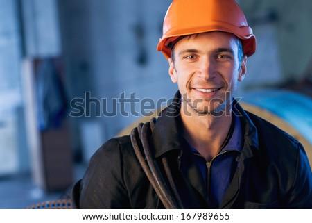portrait of working men - stock photo