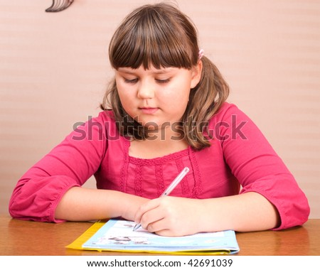 portrait of writing girl