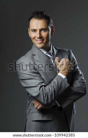 Portrait of yang and confident business man. - stock photo