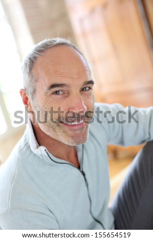 Portrait of 50-year-old attractive man - stock photo