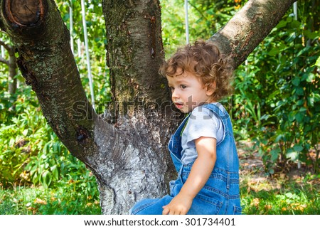 Portrait of 1 year old baby boy trying to climb a cherry tree. - stock photo