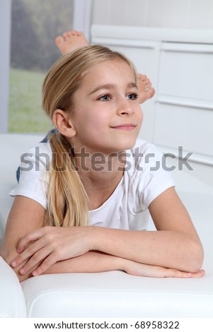 Portrait of 10-year-old blond girl - stock photo